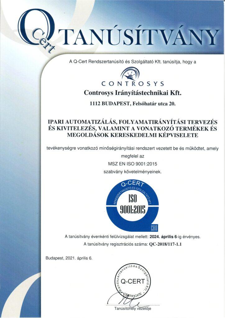 ISO9001:2015 Tanusítvány-magyar