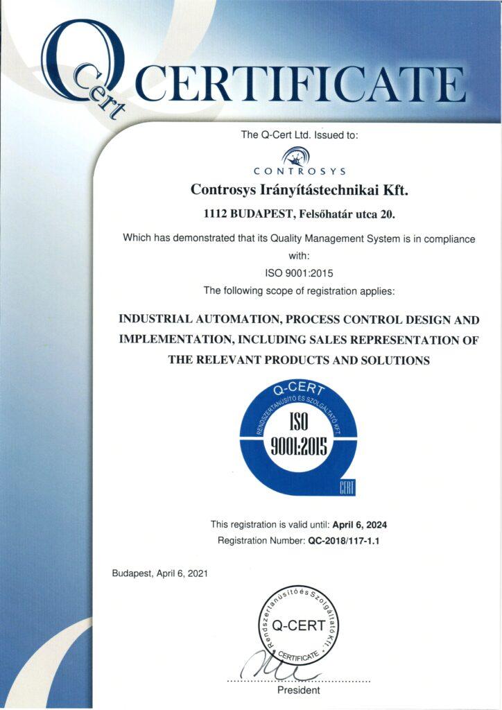 ISO9001:2015 Tanúsítvány